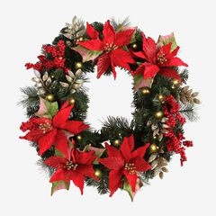 Pre-Lit Poinsettia Wreath , RED