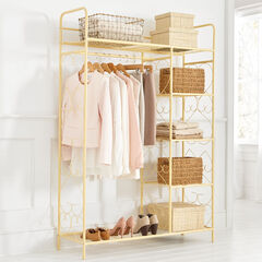 5-Tier Metal Closet with Hanging Rod, WARM YELLOW
