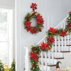 Pre-Lit Poinsettia Wreath , RED