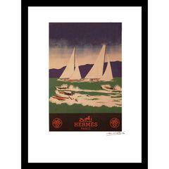 Vintage Hermes Sailboats 14x18 Framed Print, BLUE GREEN