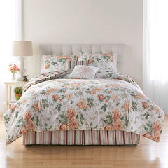 Cabbage Rose 6-Pc. Comforter Set, BLUSH NATURAL