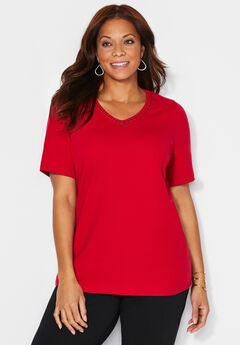 Suprema Dotted Crochet V-Neck Tee,