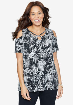 Tropical Wish Open-Shoulder Tee,