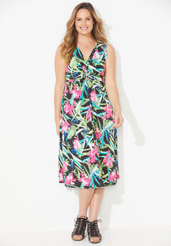 Paradise Twist-Knot Fit & Flare Dress,