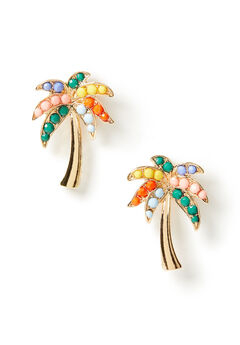 Rainbow Palm Stud Earrings,