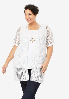Crochet Duster Sweater, WHITE