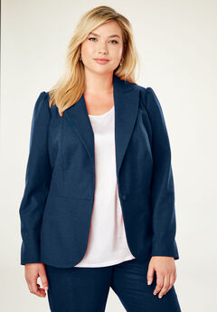 Wool-Blend Peplum Blazer, TWILIGHT TEAL