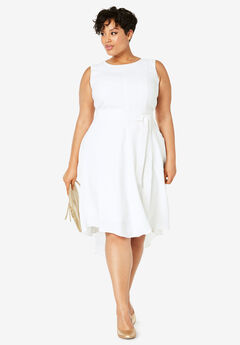 Tie-Waist Fit & Flare Dress, WHITE