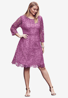 Lace Fit & Flare Dress, FUCHSIA PINK