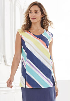 Sleeveless Shell Blouse with Scoop Neckline, STRIPE PRINT