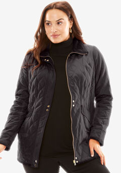 Quilted Parka with Velvet Collar,