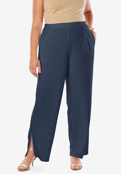 Side Slit Wide-Leg Crepe Pant,