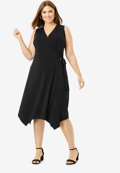 Asymmetric Hem Wrap Dress,