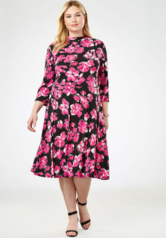 Travel Knit Fit & Flare Dress, BERRY BRILLIANT FLORAL