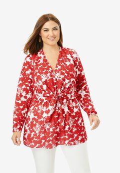 Knot Front Georgette Tunic, GERANIUM ABSTRACT FLORAL