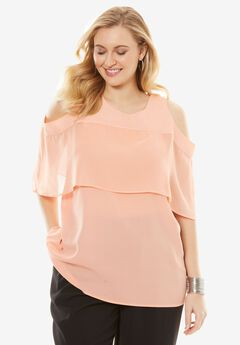 Cold Shoulder Overlay Blouse,
