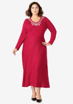 Embellished Sweater Dress,