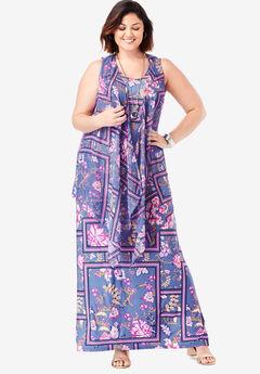 Travel Knit Maxi Dress & Vest Set,