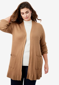 Rib Cardigan Sweater, BROWN MAPLE