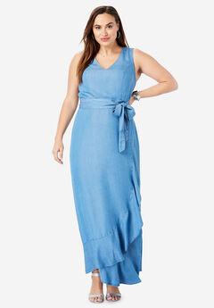caba2538c91f Sleeveless Faux Wrap Tencel® Maxi Dress