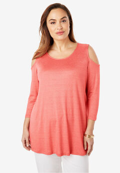 Metallic Cold Shoulder Tunic,