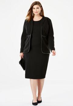 Leather Trim Jacket Dress, BLACK