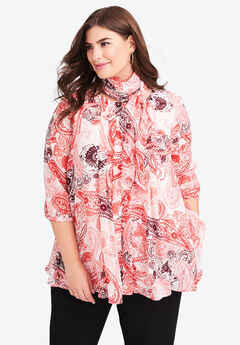 Scarf Pleat Blouse, CORAL STAMP PAISLEY