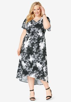 Faux Wrap Hi-Low Maxi Dress, BLACK ABSTRACT FLORAL