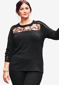 Applique Pullover Sweater,