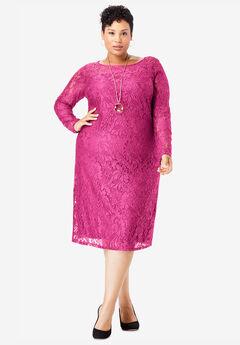 Lace Shift Dress, TROPICAL RASPBERRY
