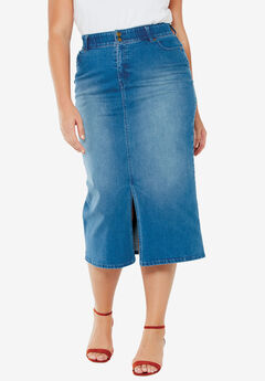 Tummy-Control Denim Maxi Skirt,