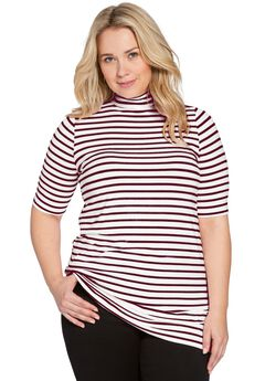 Mockneck Tee, MIDNIGHT BERRY STRIPE