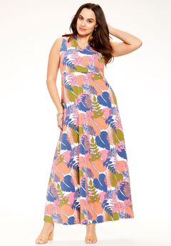 Printed V-Neck Maxi Dress,