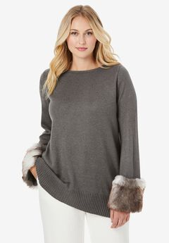 Faux Fur-Trim Sweater, CHARCOAL GREY