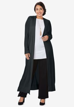 Lightweight Sweater Duster, BLACK