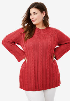 Cable Knit Tunic, PEPPER RED