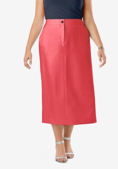 Tummy Control Bi-Stretch Midi Skirt, SOFT GERANIUM