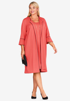 Bell Sleeve Ponte Jacket Dress, SUNSET CORAL