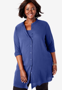 Georgette Button Front Tunic, ULTRA BLUE