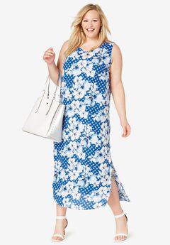 Georgette Tank Dress, COBALT BLUE GEO FLOWER