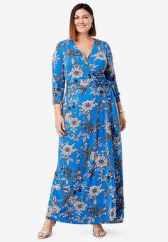 Faux Wrap Maxi Dress, JACOBEAN COBALT FLORAL