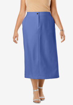 Tummy Control Bi-Stretch Midi Skirt, BLUE VIOLET