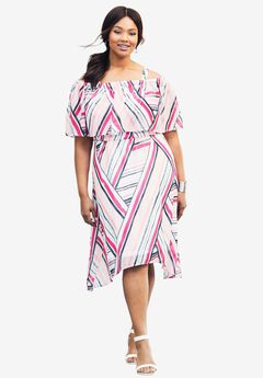 Ruffle Midi Dress, PASSION PINK STRIPE