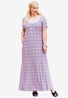 Applique Maxi Dress, VIBRANT ORANGE DIAMOND
