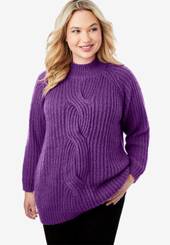 Cable Twist Sweater, WILD BERRY