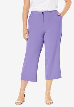 Bi-Stretch Wide Leg Crop Pant, VINTAGE LAVENDER