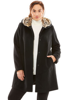 A-Line Coat With Leopard-Print Hood, BLACK