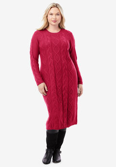 Cable Sweater Dress, CLASSIC RED
