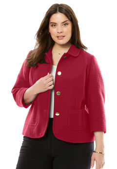 The Textured Tweed Crop Blazer, CLASSIC RED