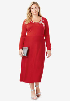 Bow Sweater Dress, BRIGHT RUBY
